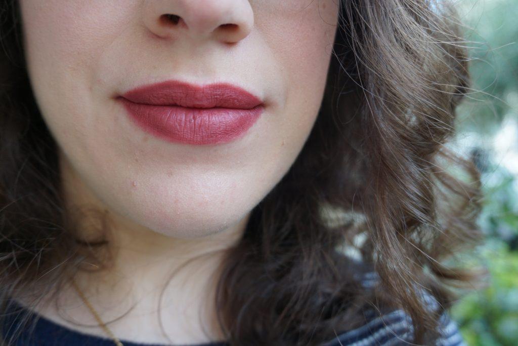 Velvet Blush Lipstick on lips