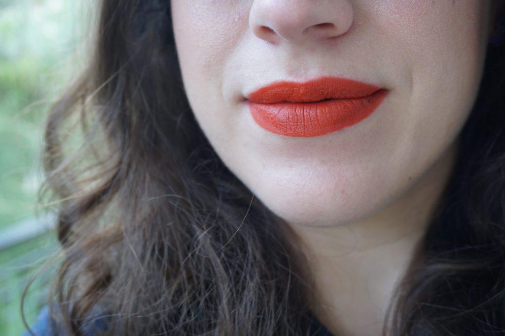 Velvet Dragon Lipstick on lips